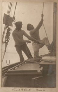 Segelsetzen auf der Yacht Irene