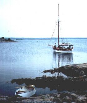 Vor Anker in den Schären bei Karlskrona